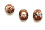 Cloisonne Beads,Vintage / Barrel 12MM Dark Red