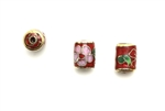 Cloisonne Beads,Vintage / Tube 11MM Red