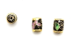 Cloisonne Beads,Vintage / Tube 10MM Black
