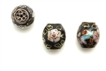 Cloisonne Beads,Vintage / Barrel 12MM Black