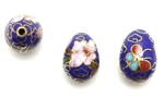 Cloisonne Beads,Vintage / Egg 16MM Dark Blue