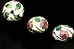 Cloisonne Beads,Vintage / Square 16MM White