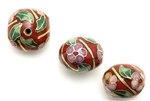 Cloisonne Beads,Vintage / Square 16MM Red