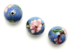 Cloisonne Beads,Vintage / Round 16MM Blue