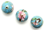 Cloisonne Beads,Vintage / Round 18MM Light Blue