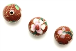 Cloisonne Beads,Vintage / Round 16MM Dark Red