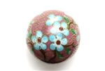 Cloisonne Beads,Vintage / Large Round 40MM Lilac