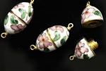 Cloisonne Clasp,Vintage / Oval 26MM White