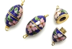 Cloisonne Clasp,Vintage / Oval 26MM Dark Blue