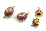 Cloisonne Clasp,Vintage / Oval 21MM Dark Red