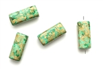 Greek Porcelain Beads,Vintage / 17MM Green Gold