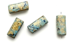 Greek Porcelain Beads,Vintage / 17MM Gold Blue