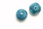 "Bead, Czech, Vintage, Glass, ""Silk"" Lampwork Beads, 15MM, Teal"