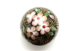Cloisonne Beads,Vintage / Large Round 40MM Black
