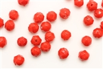 Bead, 7MM, Faceted Round, Vintage, Japanese, Red