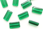 Bead, Glass, Vintage Japanese, 16MM, Rectangle, Emerald
