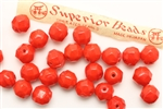 Bead, 8MM, Faceted Round, Vintage, Japanese, Red