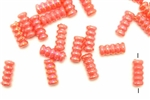 Bead, German Acrylic, Vintage, 14MM, Tube, Red Orange, AB
