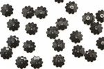 Bead, German Acrylic, Vintage, 10MM, Flat Round, Flower, Black