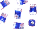 Bead, Lampwork, Handmade, Czech, 22MM, Rectangle, Crystal, Cobalt