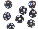 Bead, Trade, Eye, Czech, 14MM, Round, Matte Finish, Black