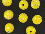 Eye Trade Bead / 14MM Round Matte Yellow
