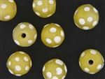 Bead, Trade, Skunk, Czech, Glass, 14MM, Round, Matte Finish, Light Yellow