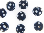 Bead, Trade, Skunk, Czech, Glass, 15MM, Round, Matte Finish, Dark Blue