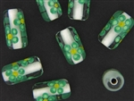 Handmade Czech Lampwork Bead / 21MM Tube Crystal Green