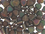 Czech Heart Beads / 10MM Matte Brown Green Iris