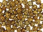 Vintage Czech Picasso Finish Beads / 6MM X 9MM Brown