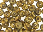 Vintage Czech Picasso Finish Beads / 7MM X 12MM Brown