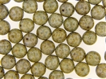 Czech Picasso Finish Beads / Round 10MM Brown Green Gold