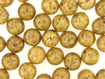 Vintage Czech Picasso Finish Beads / Round 12MM Brown