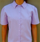 Ladies Blouse Classic Button with Collar Lavender Linen Rayon size 10