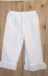 Girl Bloomers White with Ruffle Lace all sizes