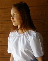 Ladies Peasant Blouse White cotton blend Oxford S 6 8