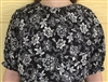Ladies Peasant Blouse Roses on Black Floral Rayon L 14 16