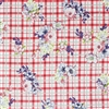 Red Plaid Floral Cotton Spandex Rayon blend Fabric by the yard