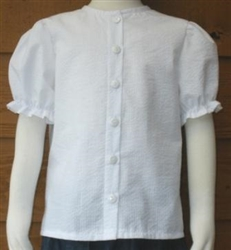 Girl Blouse Classic White Cotton Seersucker size 7