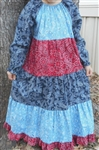 Girl Dress Patchwork Tiered Bandana Blue & Red Floral size 5 X-long