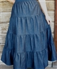 Girl Tiered Skirt navy denim with White Seams size M 8 10