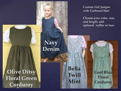Girl Jumper Denim or Corduroy with Gathered Skirt all sizes