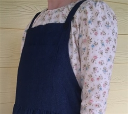 Ladies Bib Jumper Navy Denim Gathered Skirt XL 18 20 Tall