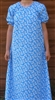 Ladies Nightgown Ferns on Blue cotton S 6 8