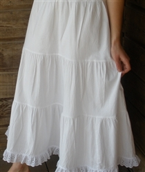 Ladies Tiered Petticoat Cotton White with Lace M 10 12 Tall
