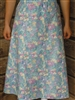 Ladies A-line Skirt Light Blue Floral Twill cotton M 10 12