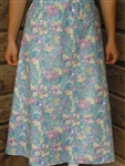 Ladies A-line Skirt Light Blue Floral Twill cotton L 14 16