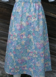 Ladies A-line Skirt Light Blue Floral Twill cotton Petite Plus 2X 26 28