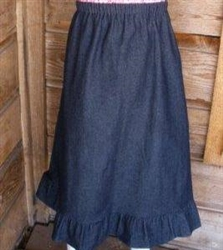 Girl A-line Skirt Navy Denim with Ruffle size 12